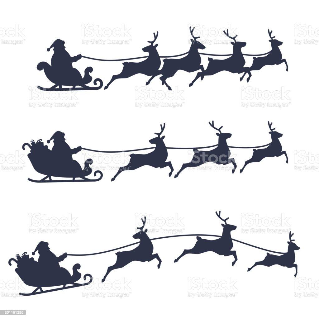 Set di slitta e renna di Babbo Natale, illustrazione vettoriale in bianco e nero. - arte vettoriale royalty-free di Arte