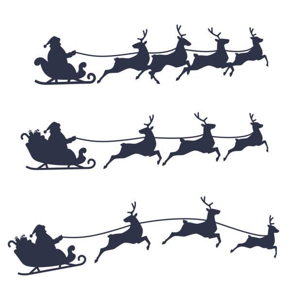 weihnachtsmann schlitten und rentiere gesetzt, schwarz-weiß vektor-illustration. - santa stock-grafiken, -clipart, -cartoons und -symbole