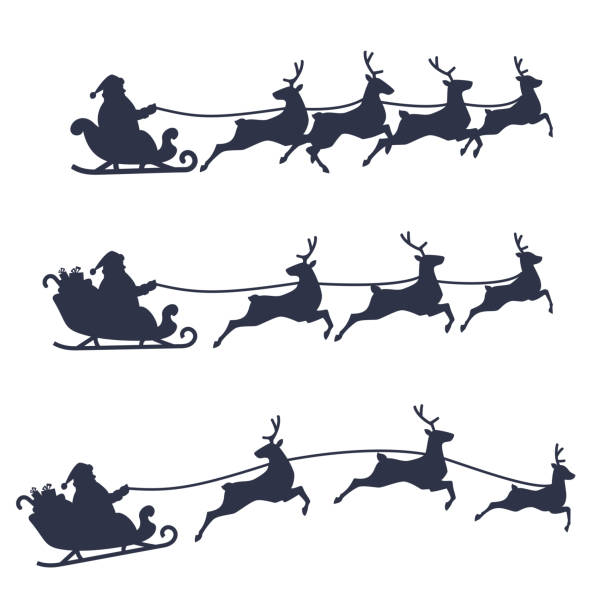 Santa Claus Sleigh and Reindeer set, black and white vector illustration. vector art illustration