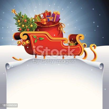 istock Santa Claus Sleigh and Scroll 187499558