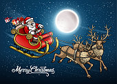 drawing of vector Santa Claus sleigh card.This file was recorded with adobe illustrator cs4 transparent.EPS10 format.