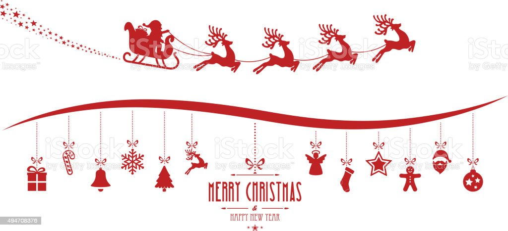 santa claus sleigh christmas elements hanging red isolated background vector art illustration