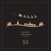 santa claus sleigh christmas gold black card
