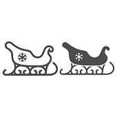 istock Santa Claus sleigh line and solid icon, New Year concept, sled with snowflake sign on white background, Christmas sleigh icon in outline style for mobile concept and web design. Vector graphics. 1284658441
