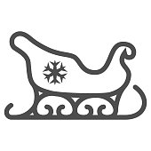 Santa Claus sleigh line icon, New Year concept, sled with snowflake sign on white background, christmas sleigh icon in outline style for mobile concept and web design. Vector graphics