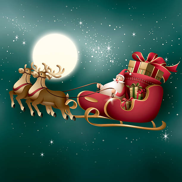 Santa Claus - sleigh ride - 2 or more color gradient used(linear/radial) sled stock illustrations