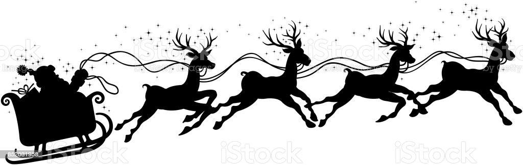 Santa Claus Sleigh Silhouette Stock Vector Art & More ...
