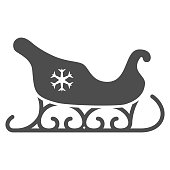 Santa Claus sleigh solid icon, New Year concept, sled with snowflake sign on white background, christmas sleigh icon in glyph style for mobile concept and web design. Vector graphics