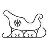 Santa Claus sleigh thin line icon, New Year concept, sled with snowflake sign on white background, christmas sleigh icon in outline style for mobile concept and web design. Vector graphics