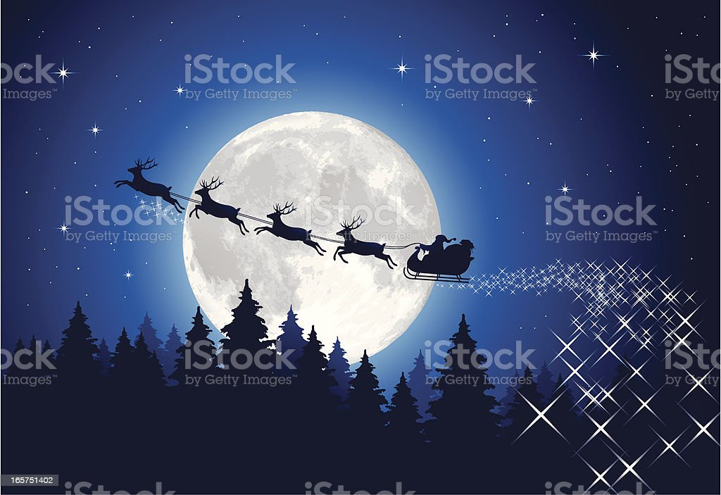 Santa Claus Sleigh Tonight Illustration of Santa's sleigh in front of the moon. Hi-res jpg included (4810x3308px) and EPS-8 file. Back Lit stock vector