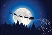 Illustration of Santa's sleigh in front of the moon. Hi-res jpg included (4810x3308px) and EPS-8 file.