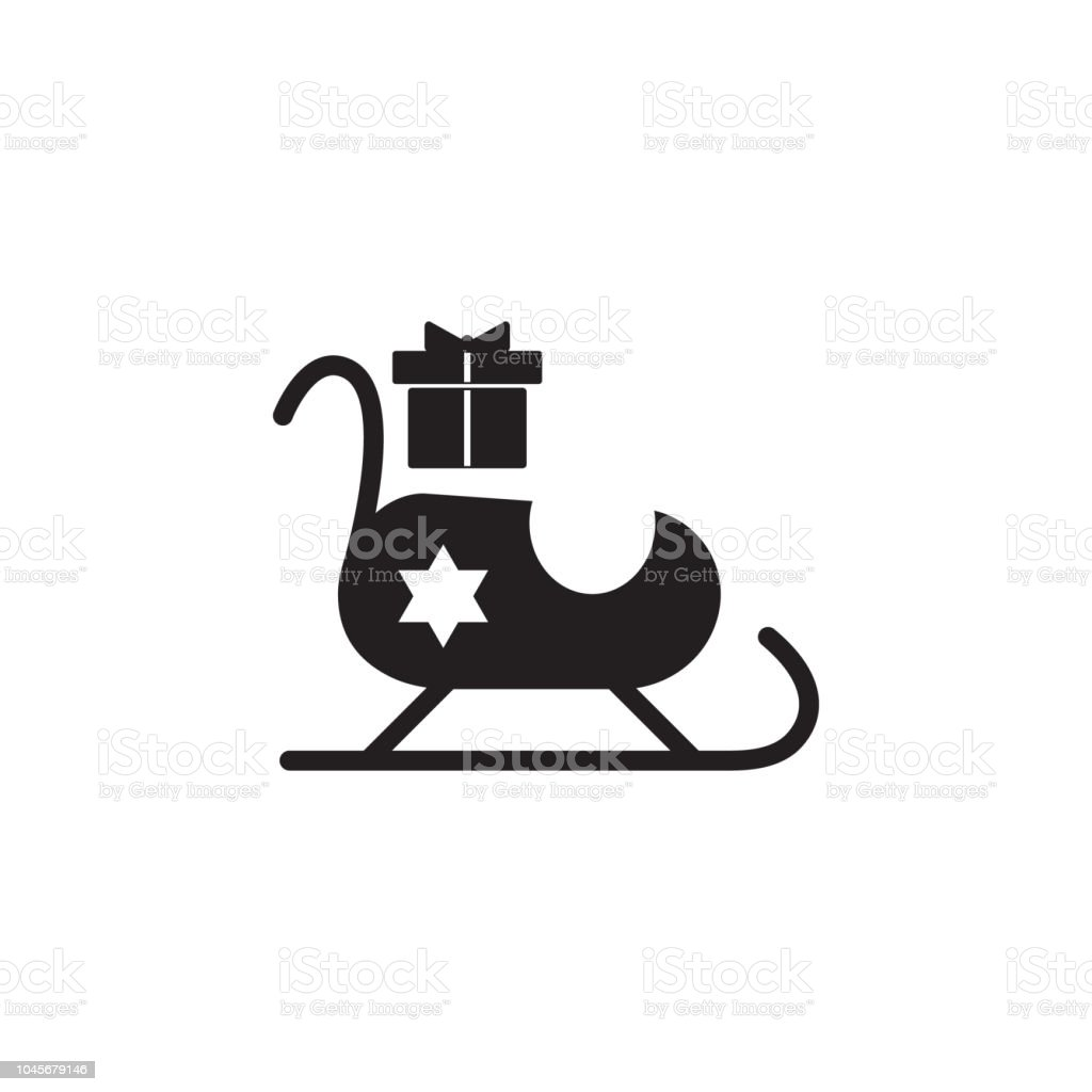 Santa Claus Sleigh With Gifts Icon Christmas Or New Year Element ...