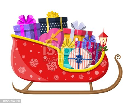 Santa claus sleigh with gifts boxes with bows. Happy new year decoration. Merry christmas holiday. New year and xmas celebration. Vector illustration in flat style