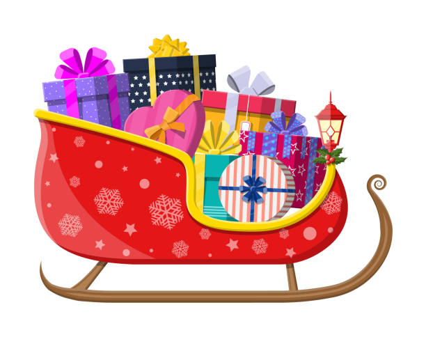 Santa claus sleigh with gifts Santa claus sleigh with gifts boxes with bows. Happy new year decoration. Merry christmas holiday. New year and xmas celebration. Vector illustration in flat style sled stock illustrations