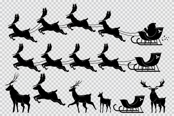 Santa Claus sleigh with reindeer. Christmas deer black silhouette vector set isolated on transparent background. Deer silhouette and Santa flying sleigh vector set. sled stock illustrations