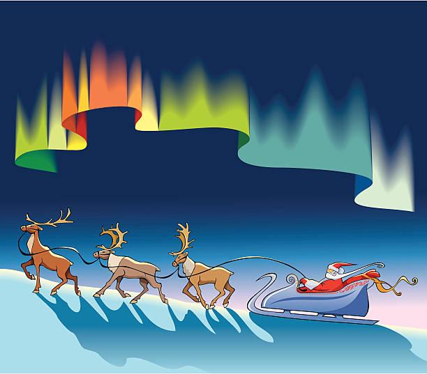 Papai Noel sleighing sob luzes do norte - ilustração de arte em vetor