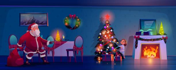 illustrazioni stock, clip art, cartoni animati e icone di tendenza di santa claus sneak to christmas tree to place gifts - santa claus tiptoeing