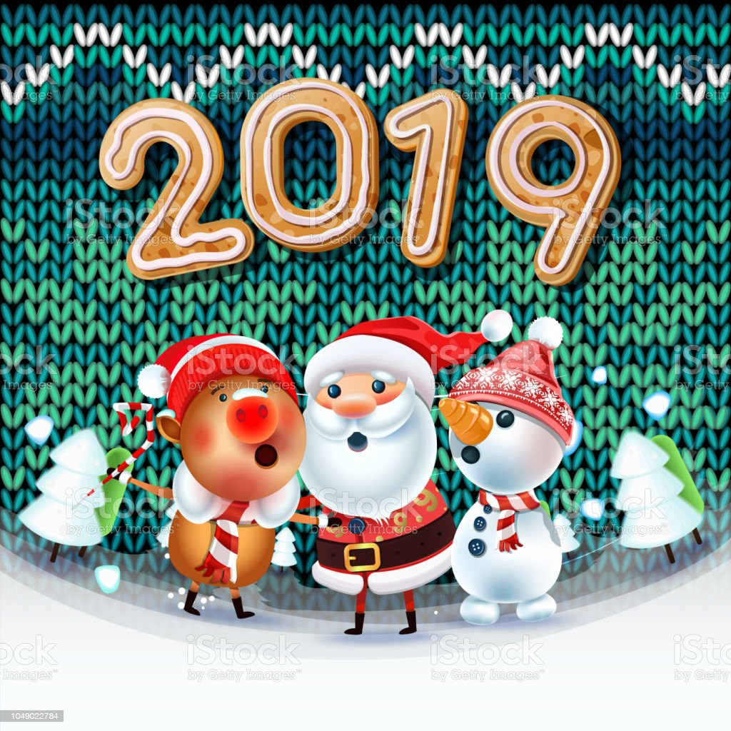 Santa Claus Snowman And Symbol Of 2019 Year Pig Sing A Christmas Song Around The Christmas Tree ...