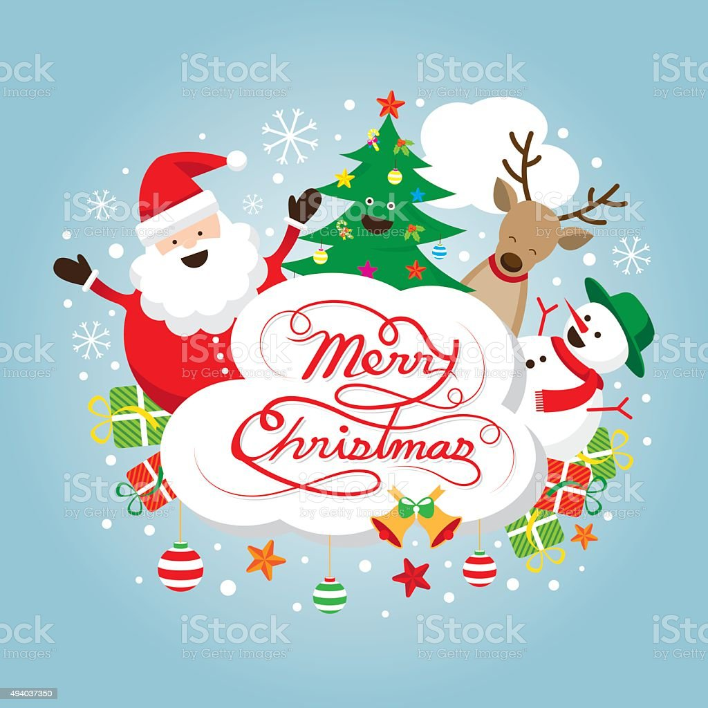 Santa Claus Snowman Reindeer And Tree Characters Label ...