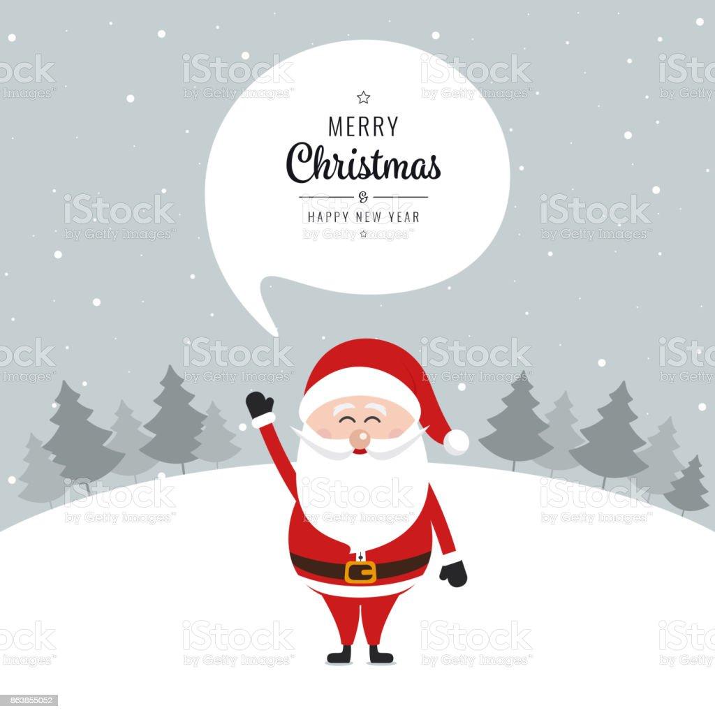 Santa claus speech bubble merry christmas greeting text snow santa claus speech bubble merry christmas greeting text snow landscape background royalty free santa claus m4hsunfo