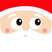Santa Claus square head face icon. Beard, moustaches, white eyebrows, nose, cheeks, red hat. Merry Christmas. Happy New Year. Cute cartoon kawaii funny character Winter background Greeting card Vector