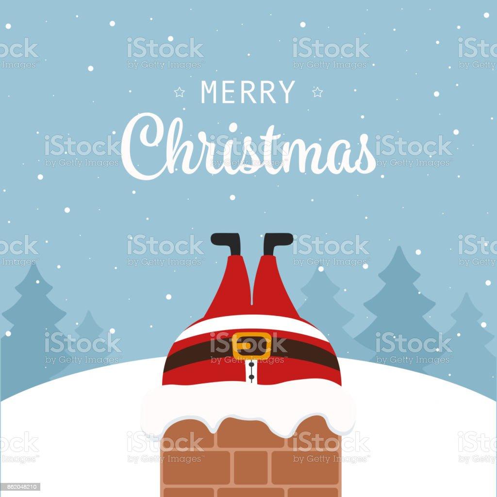 santa claus stuck in chimney christmas greeting winter landscape