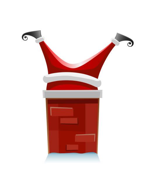 weihnachtsmann steckte im schornstein - lustige vektor-illustration isoliert auf weißem hintergrund - feststecken stock-grafiken, -clipart, -cartoons und -symbole