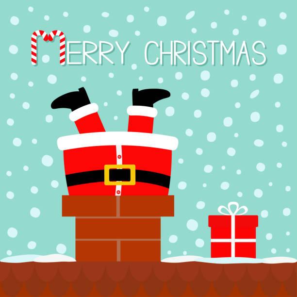 santa claus fest in den schornstein auf dem dach. geschenk-box. rote mütze, bart, kostüm, gürtelschnalle. frohe weihnachten. zuckerstange. cute kawaii lustige comicfigur. blau schnee hintergrund grußkarte - kaminverkleidungen stock-grafiken, -clipart, -cartoons und -symbole