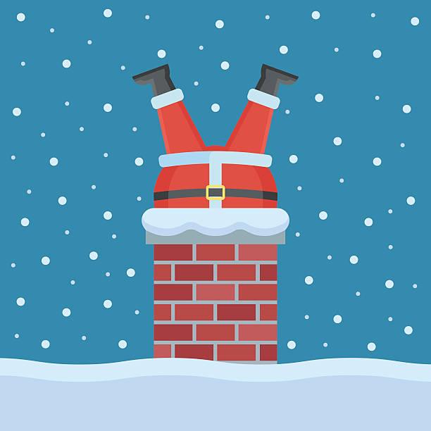 santa claus stuck in the chimney on the roof - kamin stock-grafiken, -clipart, -cartoons und -symbole