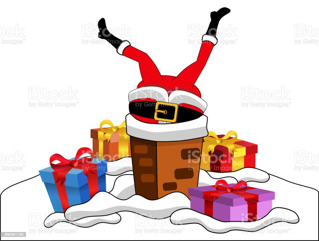santa claus stuck in the chimney upside down isolated royalty free santa claus stuck in