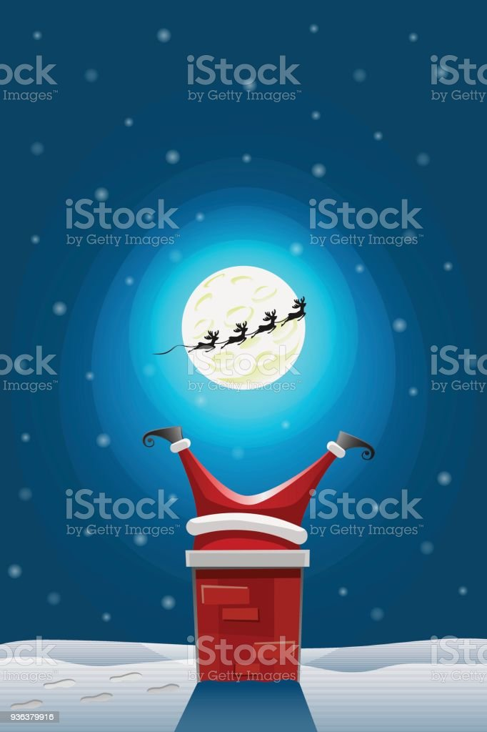 Santa claus stuck in the Chimney vector art illustration