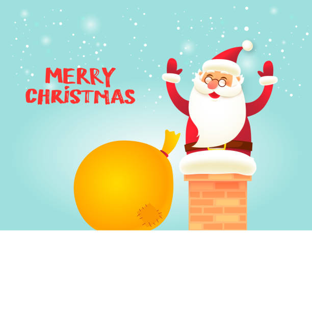 santa claus stecken in das rohr. frohe weihnachten und glückliches neues jahr. flaches design-vektor-illustration. - kaminverkleidungen stock-grafiken, -clipart, -cartoons und -symbole