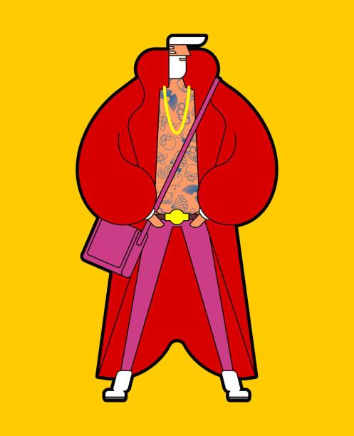 santa claus stylish fashionable new year grandfather. trendy hipster. modish man. modern christmas costume.  fashion clothes. - old man sunglasses stock illustrations, clip art, cartoons, & icons