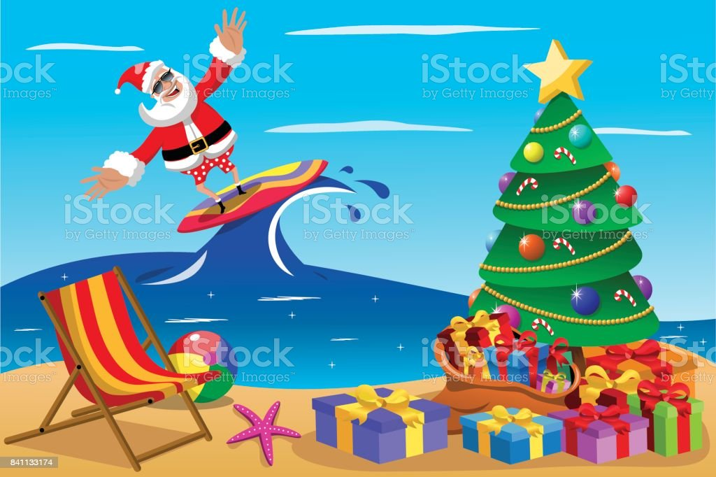 Christmas In Australia Santa.Santa Claus Surfing Xmas Time Stock Illustration Download
