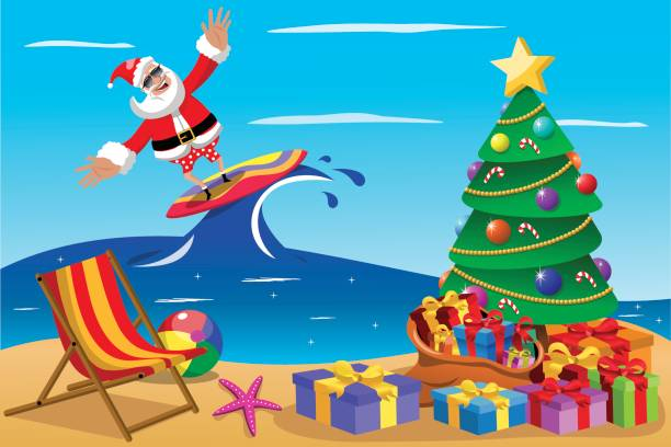 santa claus surfing xmas time vector art illustration