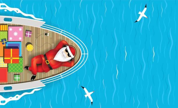 bildbanksillustrationer, clip art samt tecknat material och ikoner med santa claus simning på en yacht - christmas gift family