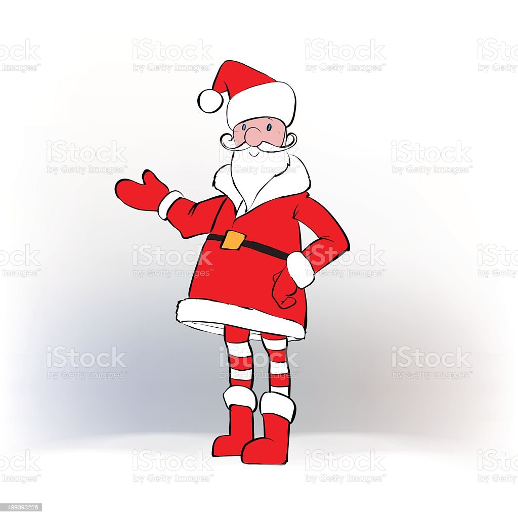 Santa Claus Template Greeting Card Father Christmas Hand Points ...