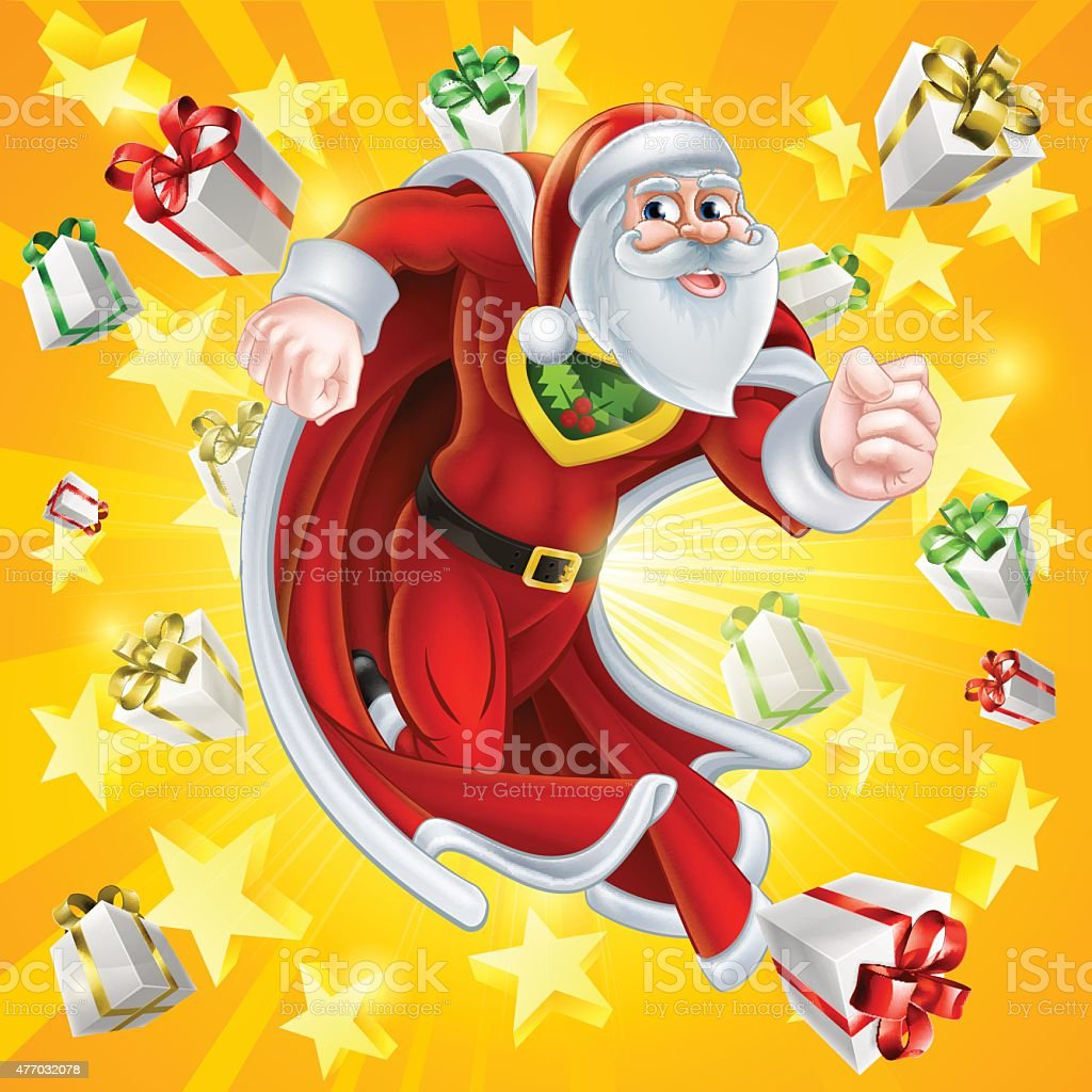 Santa Claus the Christmas Hero vector art illustration