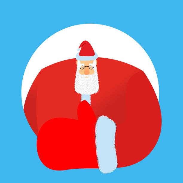 santa claus thumbs up. gesture of hand is all right. - old man showing thumbs up background stock illustrations