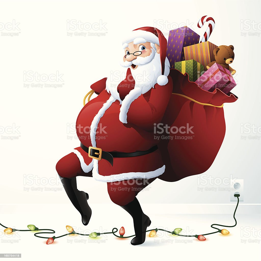 Santa Claus - Tiptoe royalty-free stock vector art