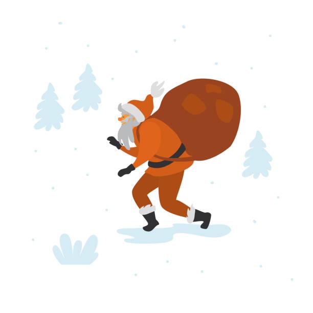 illustrazioni stock, clip art, cartoni animati e icone di tendenza di babbo natale punta a piedi con sacco di regali isolato illustrazione vettoriale scena di natale - santa claus tiptoeing