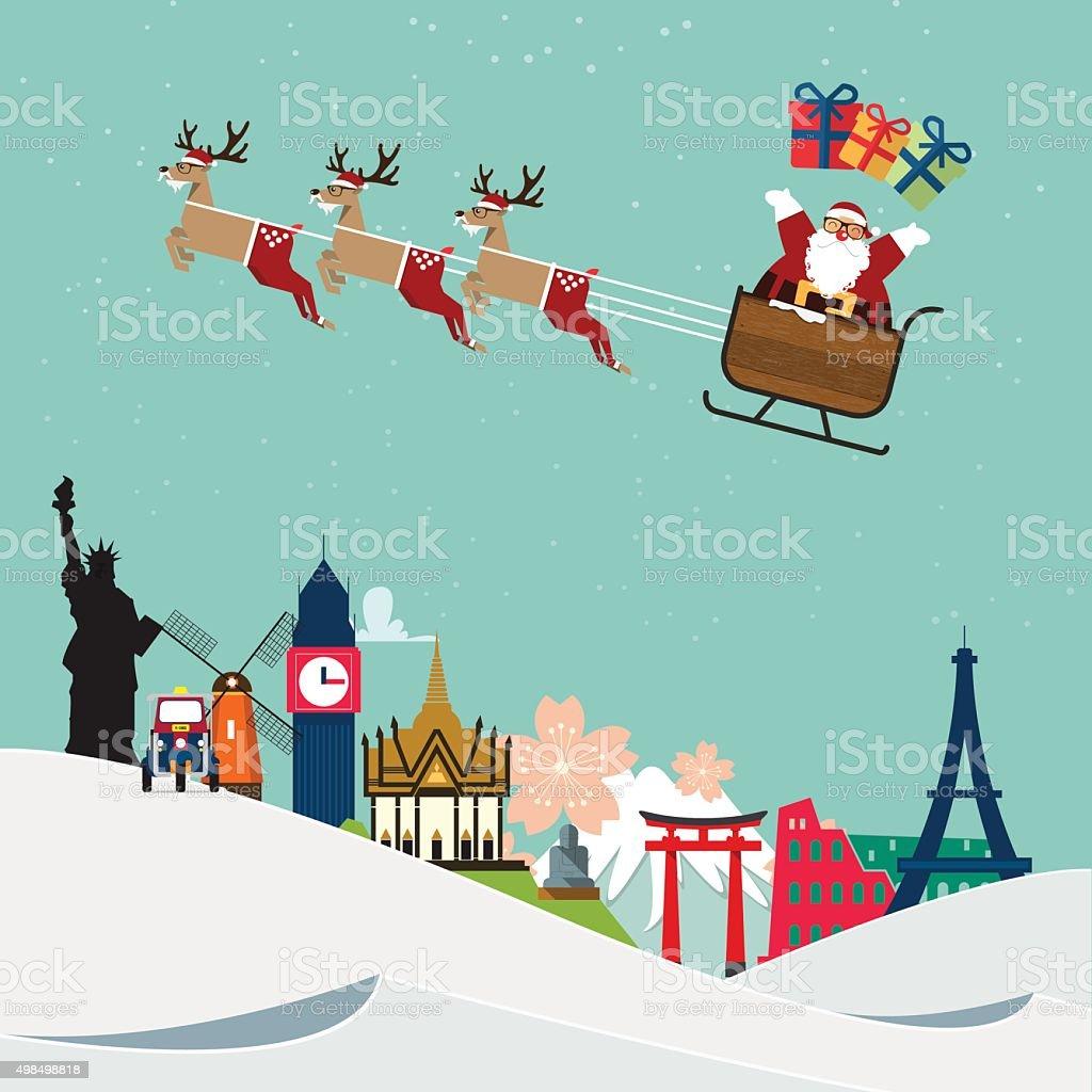 A Rena Mais Famosa Do Papai Noel vetores de papai noel viajar ao redor do famoso mundialmente