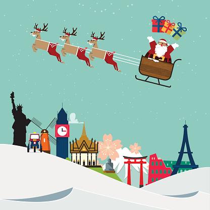 Santa Claus travel around famous  world landmark. Vector.