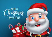 Santa claus vector character and merry christmas greeting in a blue background banner. Santa claus carrying bag of gifts while talking. Vector illustration.