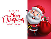 Santa claus vector character holding gifts with merry christmas greeting in white empty space for christmas wish list. Vector illustration.