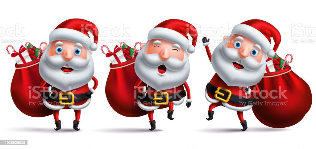Santa Claus Vector Character Set Carrying Full Sack Of