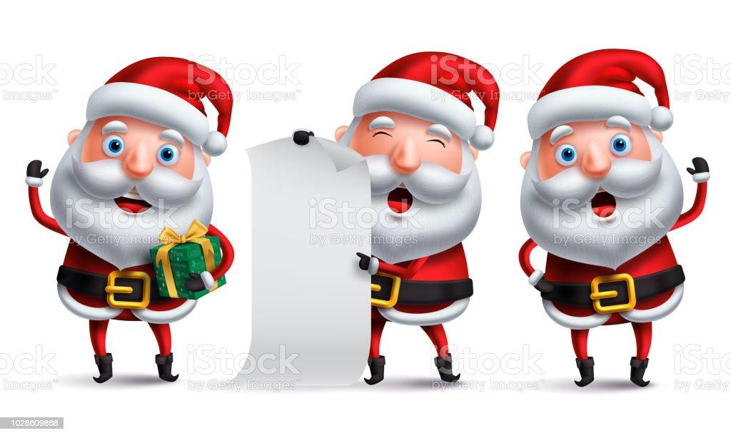 Santa Claus Vector Character Set Holding Christmas Gift And Blank ...
