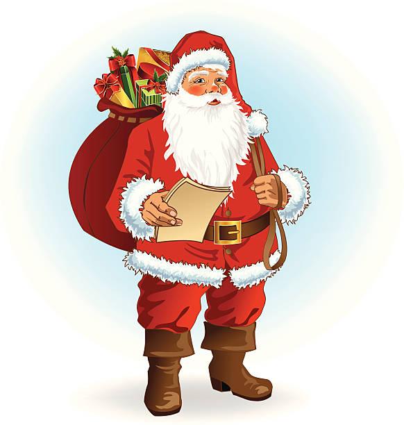 santa claus - old man standing drawings stock illustrations, clip art, cartoons, & icons
