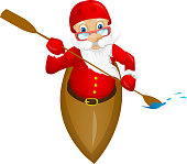 Cartoon Character Santa Claus Isolated on Grey Gradient Background. Kayaker. Vector EPS 10.