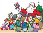 Illustration of Santa Claus sharing gifts..